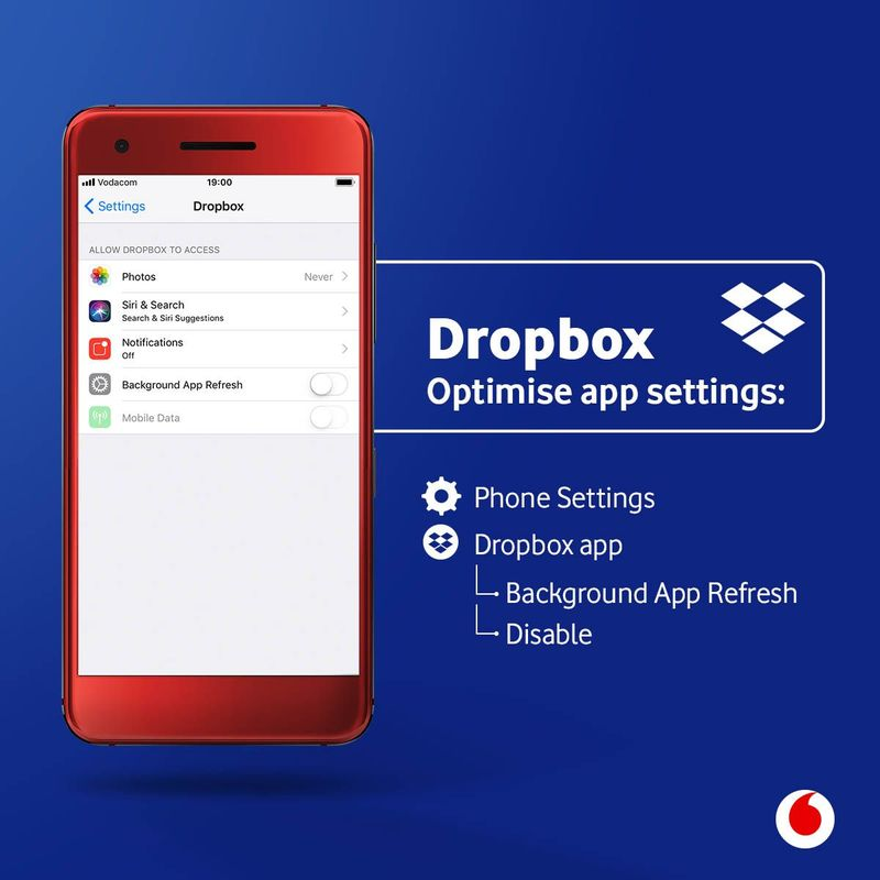 How ro disable background app refresh on Dropbox