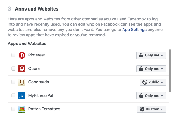 Regularly check which apps have access to your Facebook account