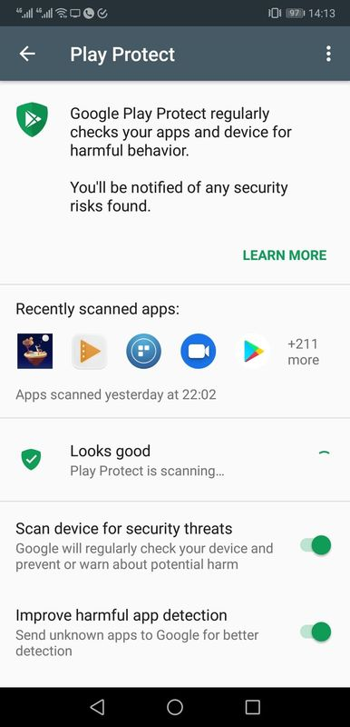 Google Play Protect is one tool to use to check for malware